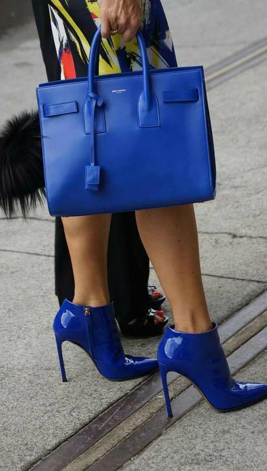 сини елегантни официални обувки с високи токчета