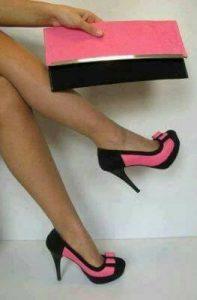 елегантни официални обувки с високи токчета розово и черно