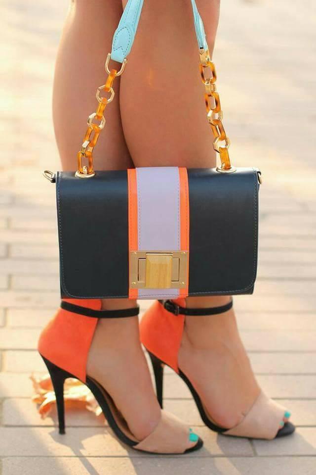 елегантни официални обувки с високи токчета оранжево и черно