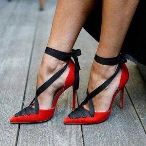 елегантни официални обувки с високи токчета червено и черно