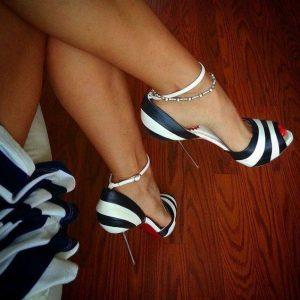 елегантни официални обувки с високи токчета бяло и черно