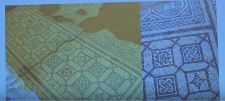 """свастики в мозайката на пода на вила """"Армира"""""""