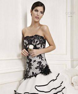 дълга официална бална рокля черно и бяло
