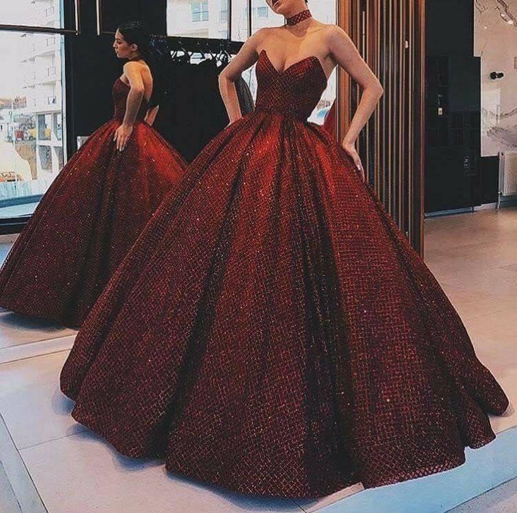 дълга официална тъмночервена бална рокля сатен