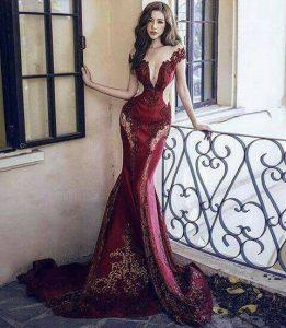 дълга официална тъмночервена бална рокля дантела