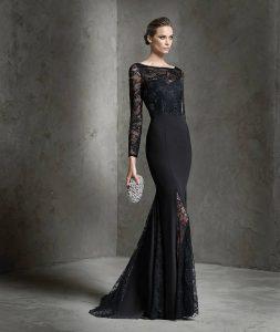 дълга черна официална рокля