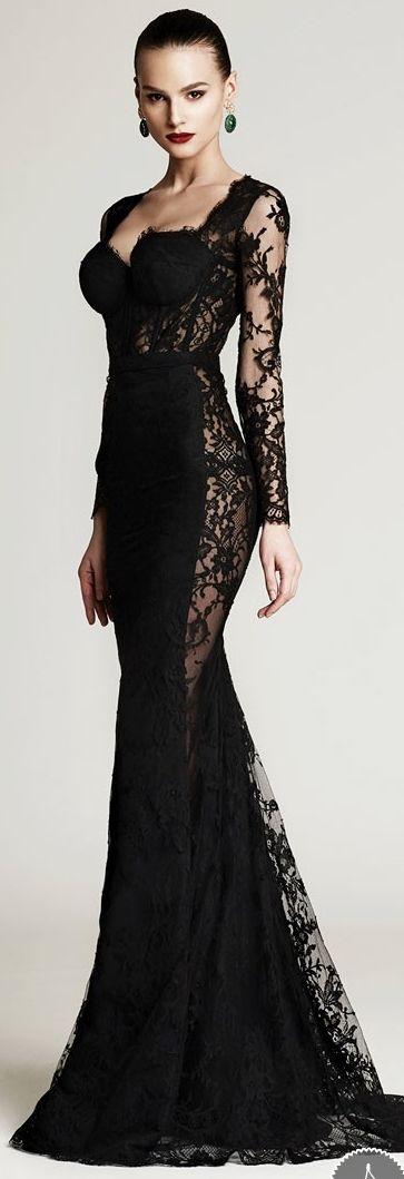 дълга черна официална рокля дантела
