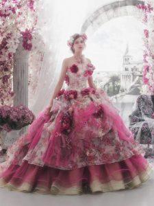 дълга бална рокля с флорални декорации цвят розов