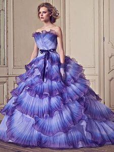 дълга синя бална рокля за принцеса