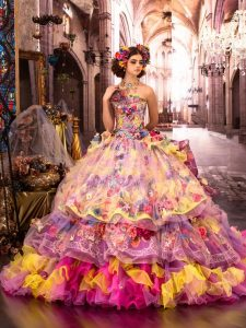 дълга многоцветна бална рокля за принцеса