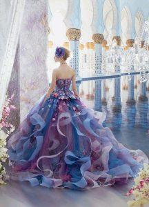 синя дълга бална рокля с флорални декорации