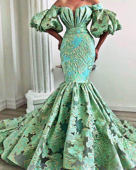 светлозелена рокля за бал русалка