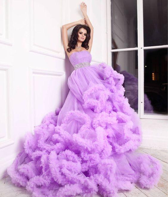 лилава бална рокля
