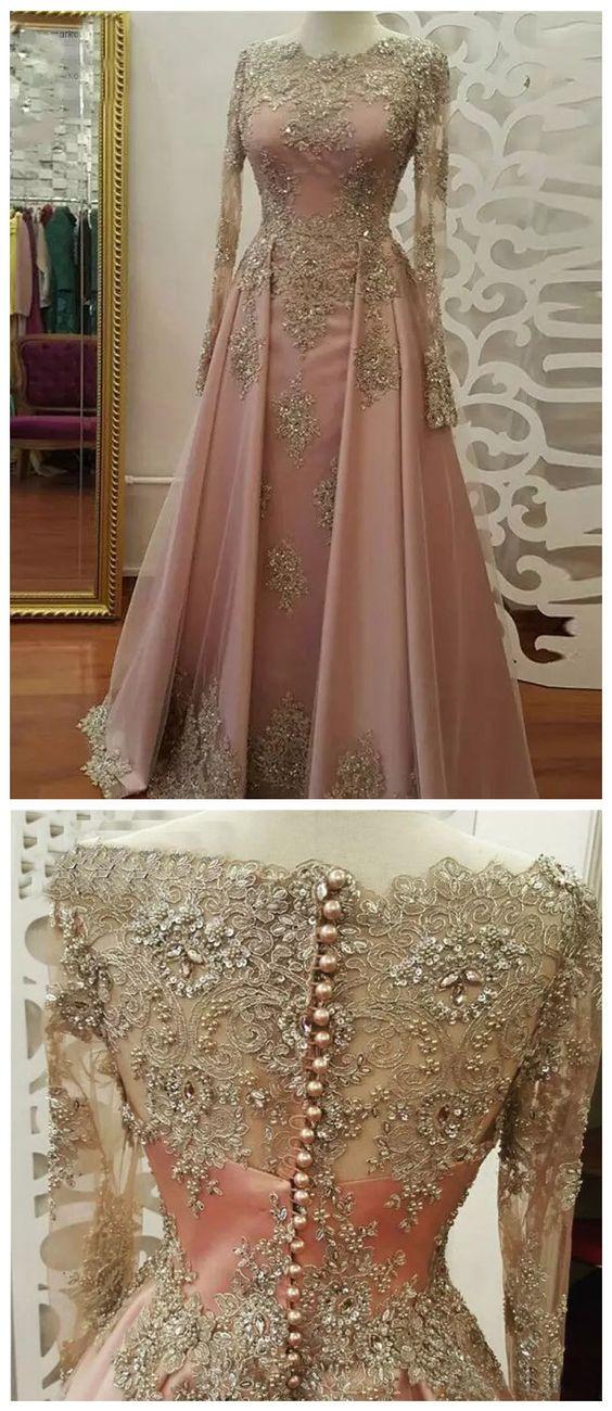 дълга розова рокля за бал с декорции от дантела