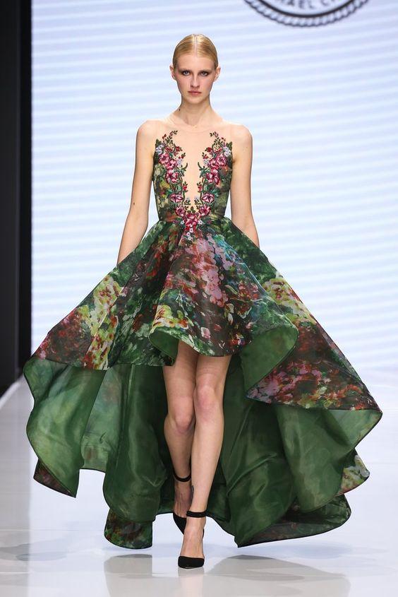асиметрична бална рокля с флорален принт