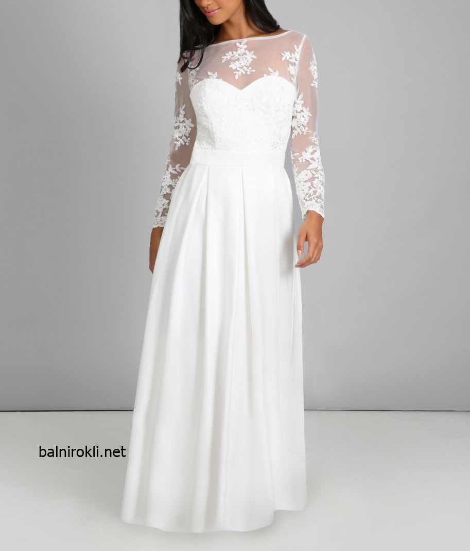 дълга официална бяла рокля с дантела