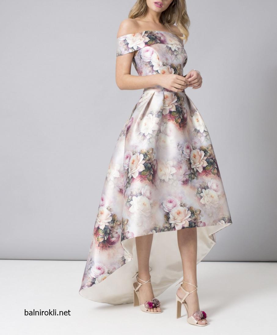 красива официална рокля флорален сатен