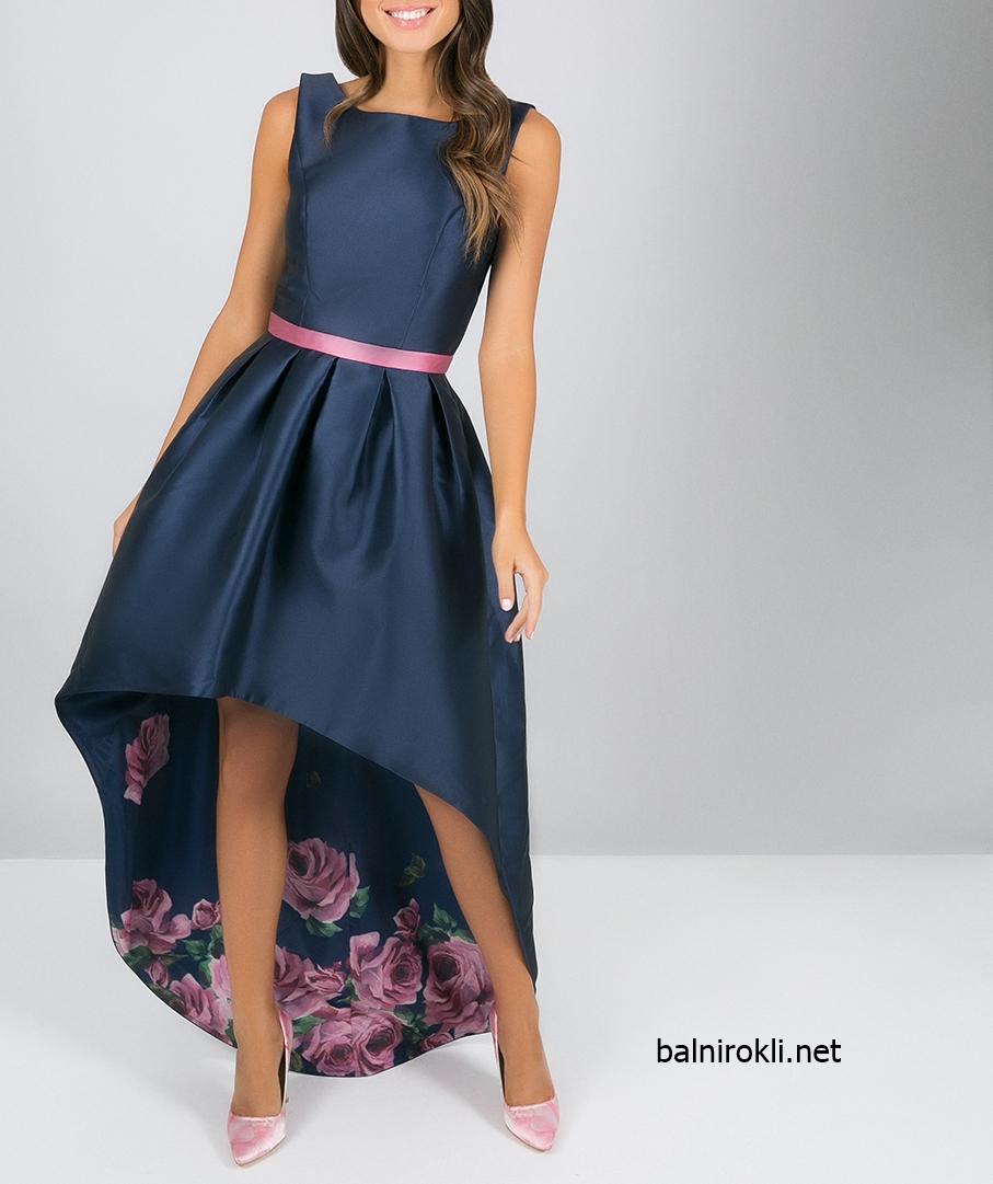асиметрична тъмносиня официална рокля с рози