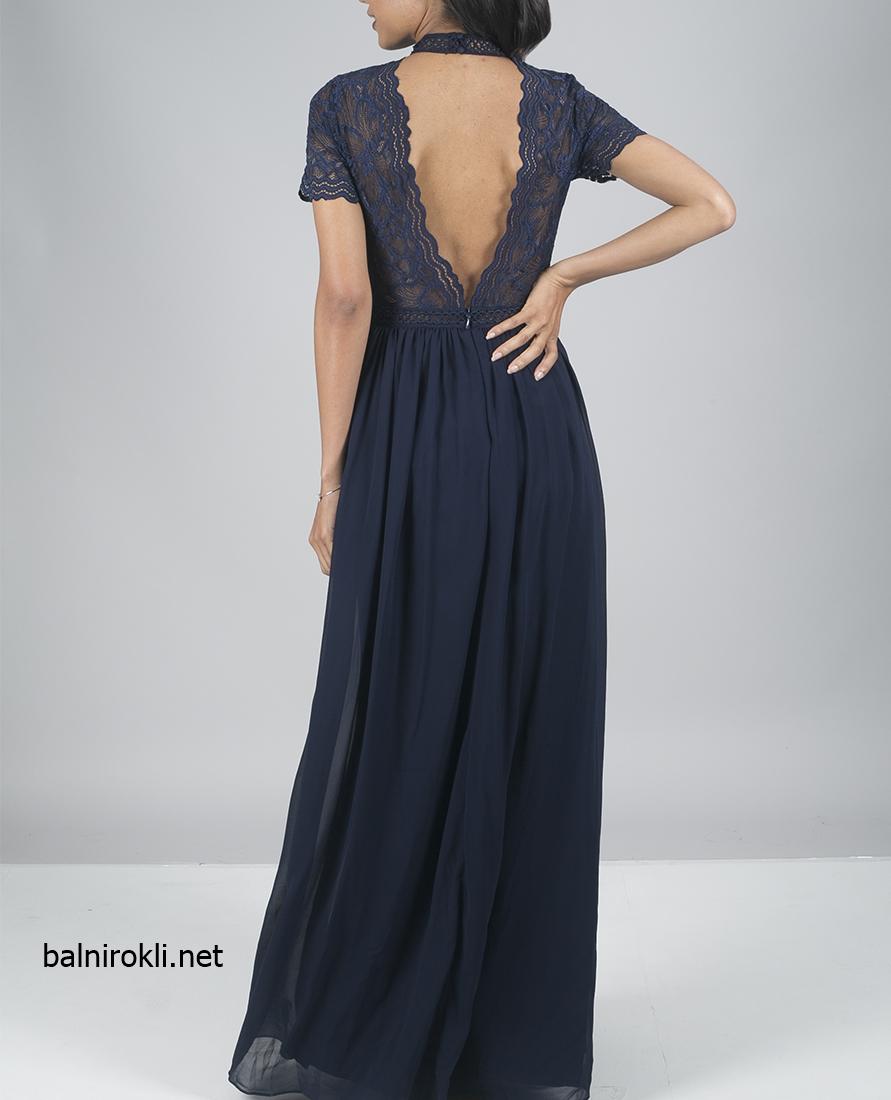 асиметрична тъносиня официална рокля гол гръб дантела