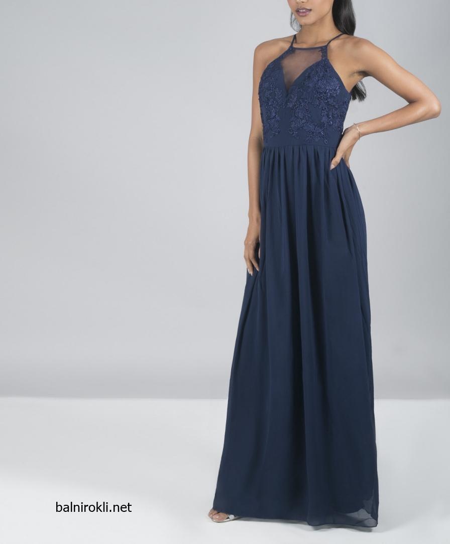Тъмносиня дълга официална рокля гол гръб