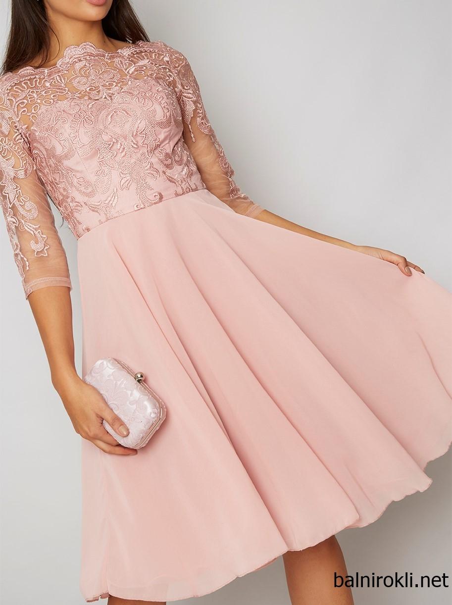 къса розова официална рокля шифон