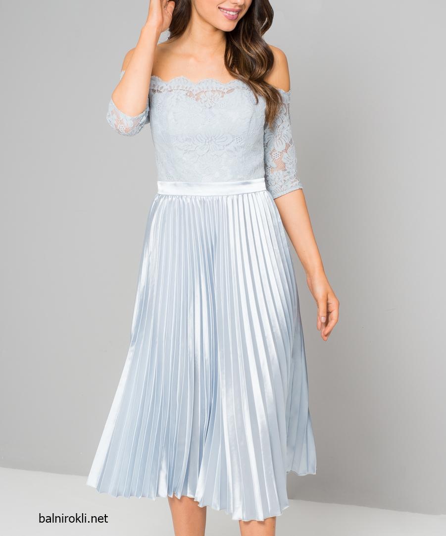 елегантна светлосиня рокля дантела сатен