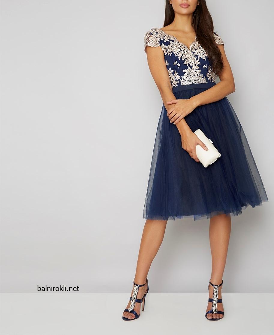 къса синя рокля тюл бродерии
