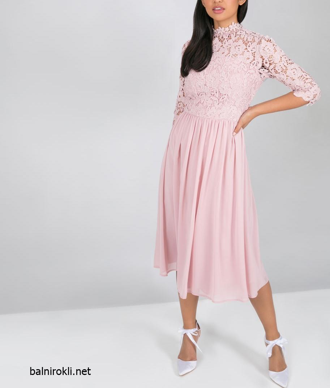 нежна официална розова рокля средна дължина шифон