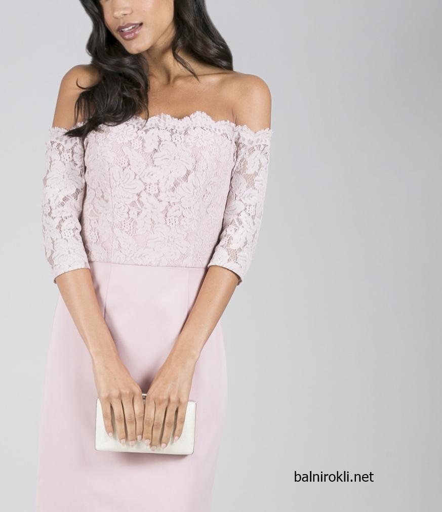 елегантна къса права светлорозова официална рокля дантела