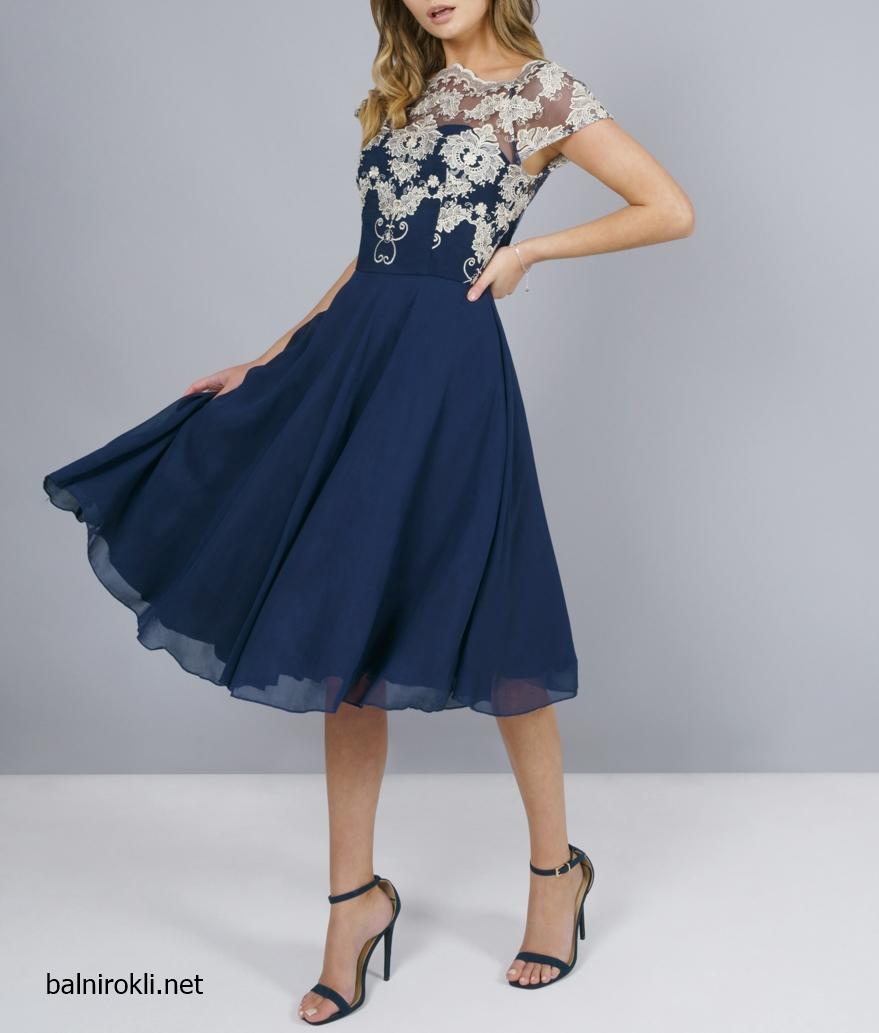 елегантна тъмносиня официална рокля шифон средна дължина