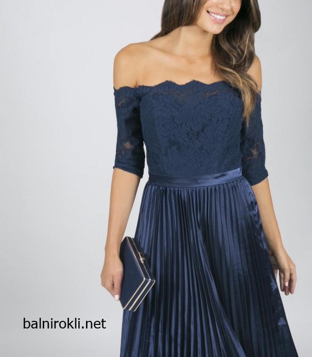 елегантна тъмносиня официална рокля средна дължина дантела сатен