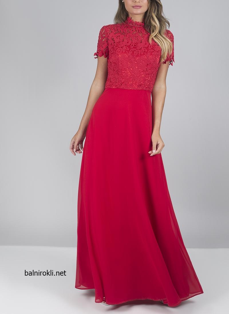 дълга червена официална рокля