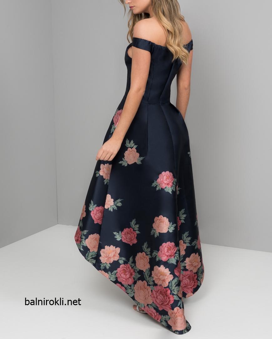 елегантна тъмносиня рокля с флорални мотиви