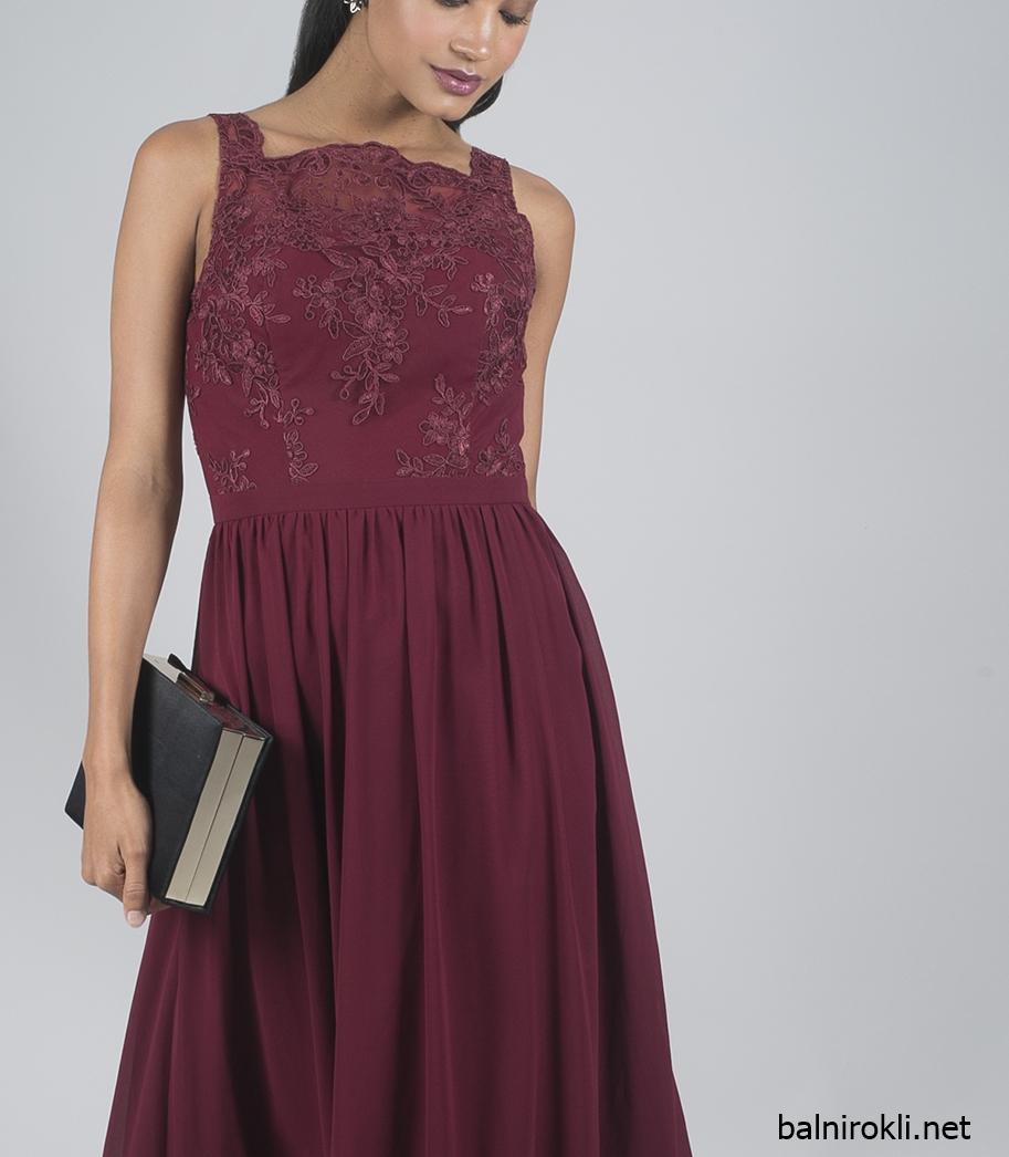 дълга официална рокля бордо