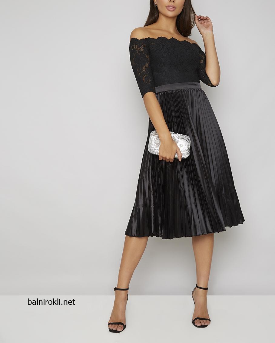 къса черна рокля дантела плисе официална