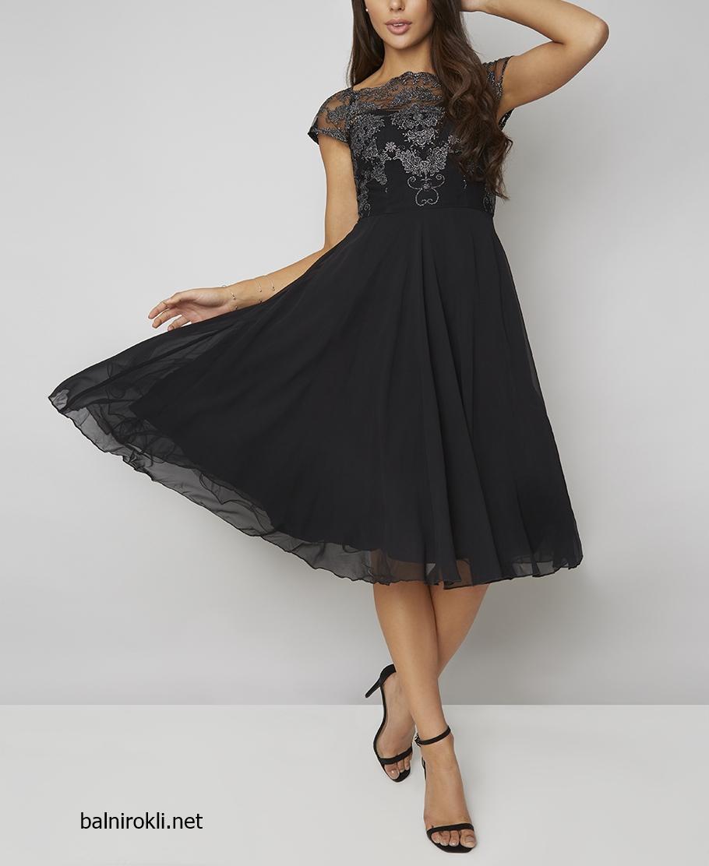 черна официална рокля средна дължина сребриста бродерия