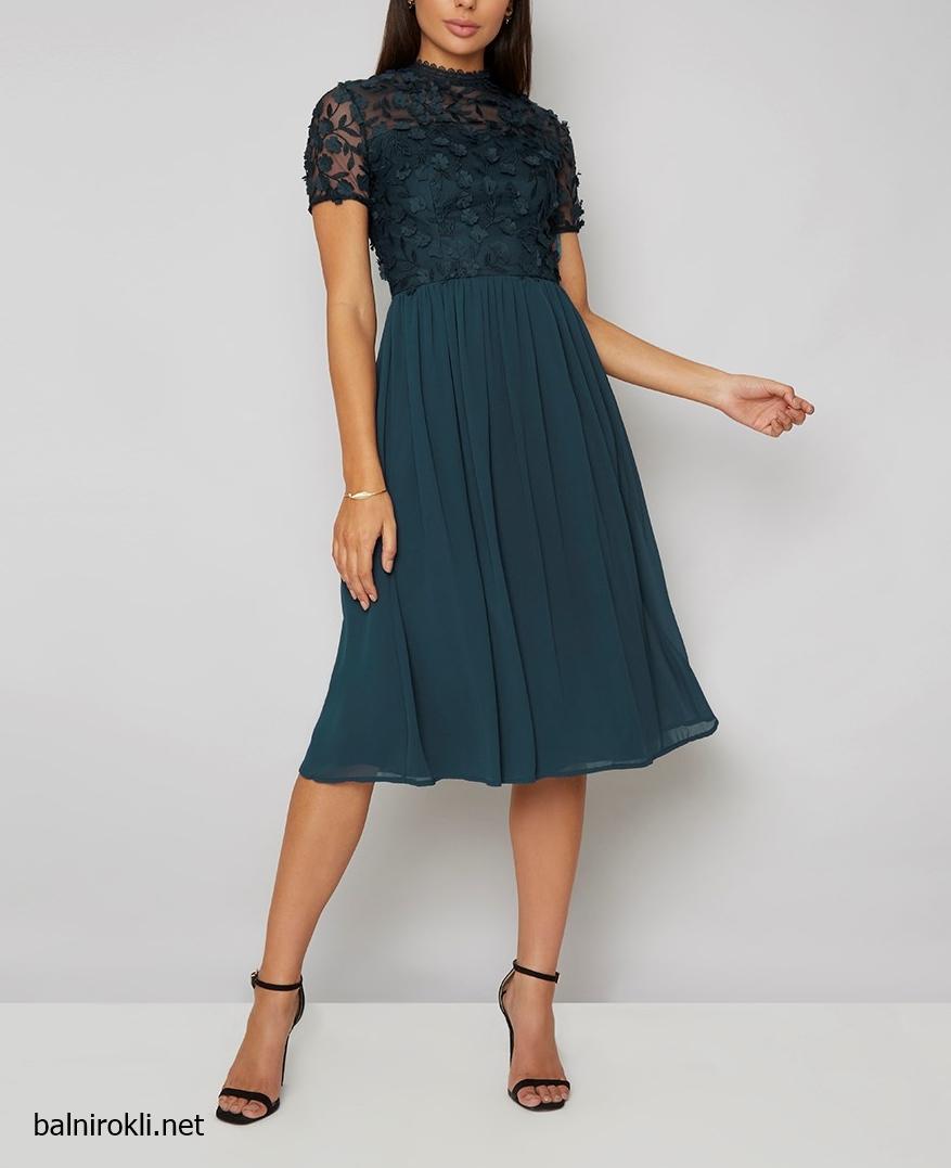 зелена официална рокля средна дължина 3 D декорация