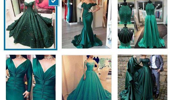 зелени дълги бални рокли