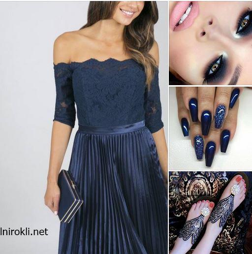елегантна синя официална рокля дантела и сатен