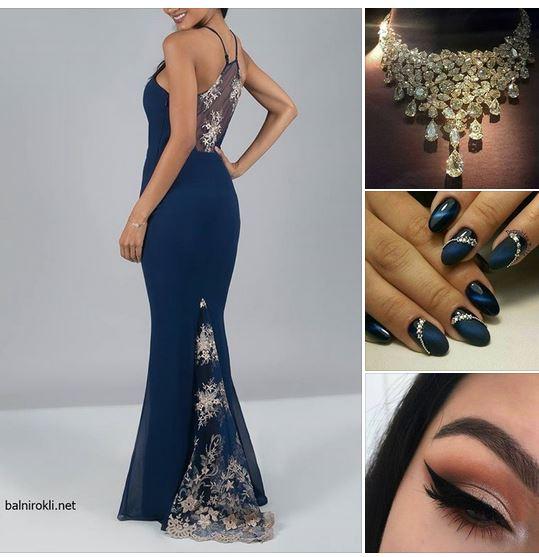 дълга синя официална рокля гол гръб