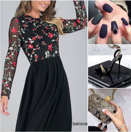 елегантна черна коктейлна рокля бродерии