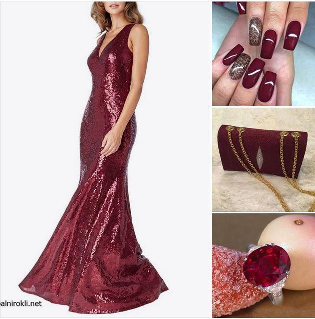 тъмночервена вечерна рокля блестящи пайети