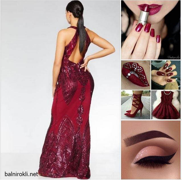 тъмночервена блестяща бална рокля