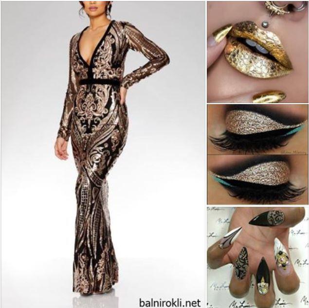 официална рокля черно и златисто