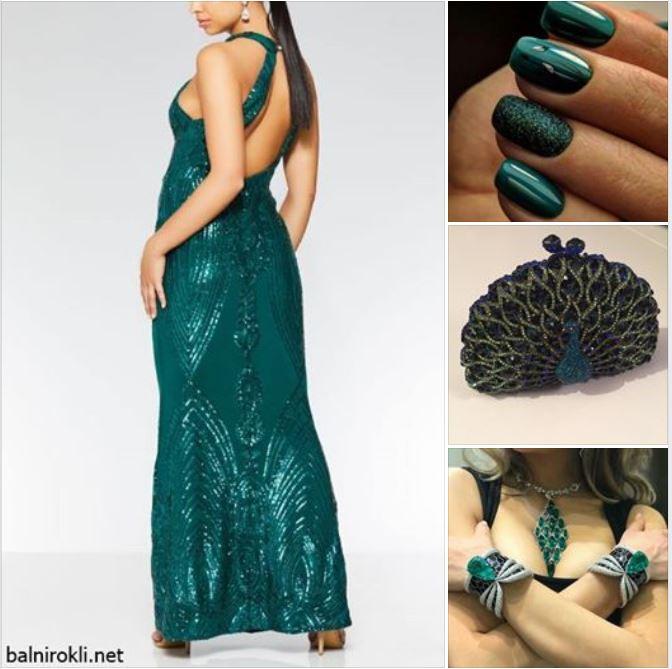 зелена дълга блестяща бална рокля