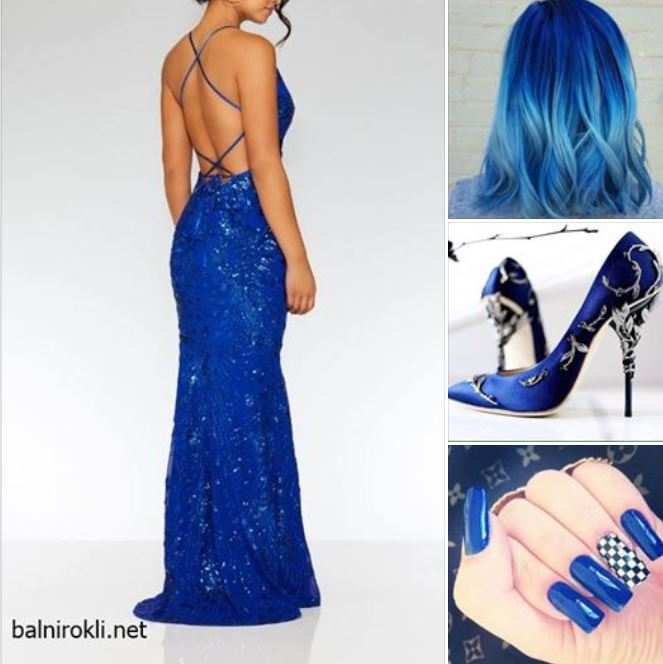 блестяща синя дълга рокля гол гръб