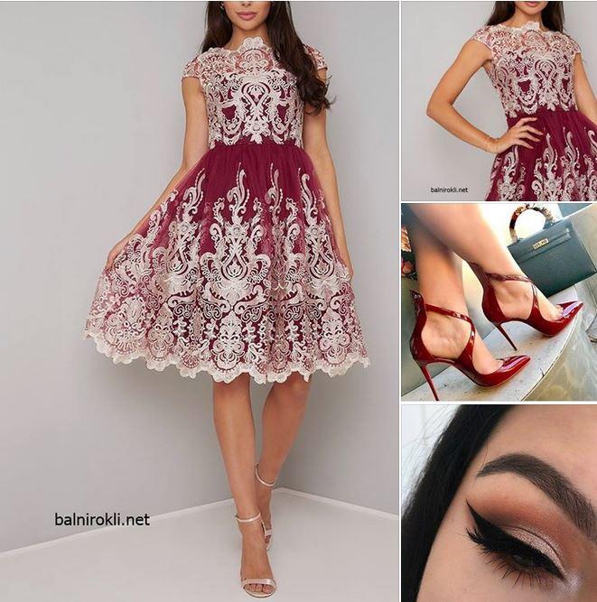 бална тъмночервена официална рокля