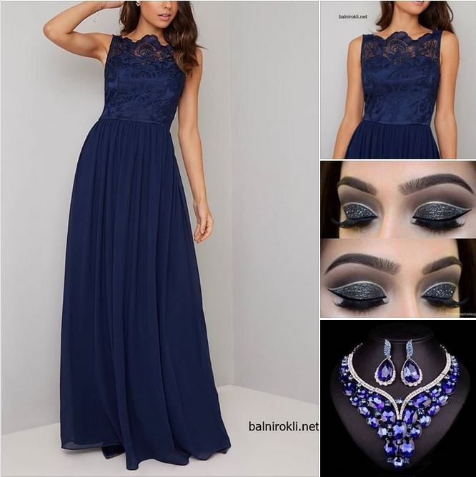 синя дълга бална рокля шифон и дантела