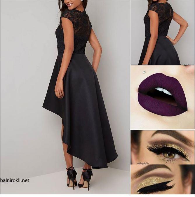 черна асиметрична дълга бална рокля сатен