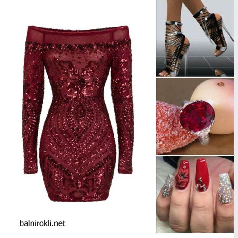 къса тъмночервена блестяща рокля